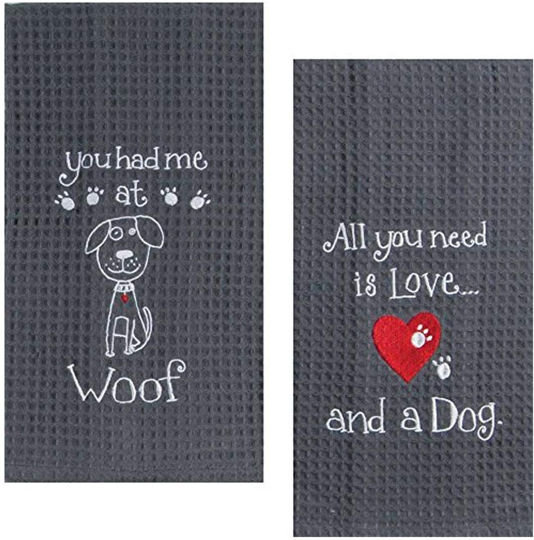 Dog Lover Embroidered Waffle Kitchen Towel Set