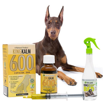 King Kalm 600mg Hemp Oil For Doberman Pinschers + FREE Klean Bed Spray