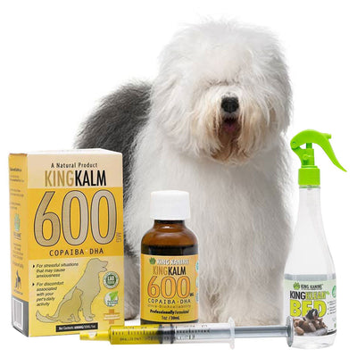 King Kalm 600mg Hemp Oil For Old English Sheepdogs + FREE Klean Bed Spray
