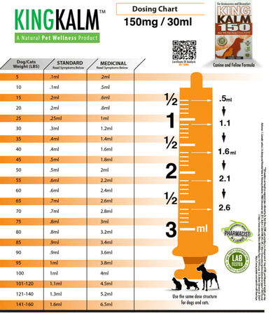 KING KALM™ Hemp 150mg + FREE Mini KOMB Dosing Chart