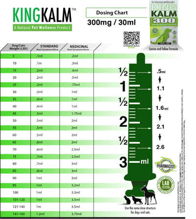KING KALM™ Hemp 300mg + FREE Mini KOMB Dosing Chart