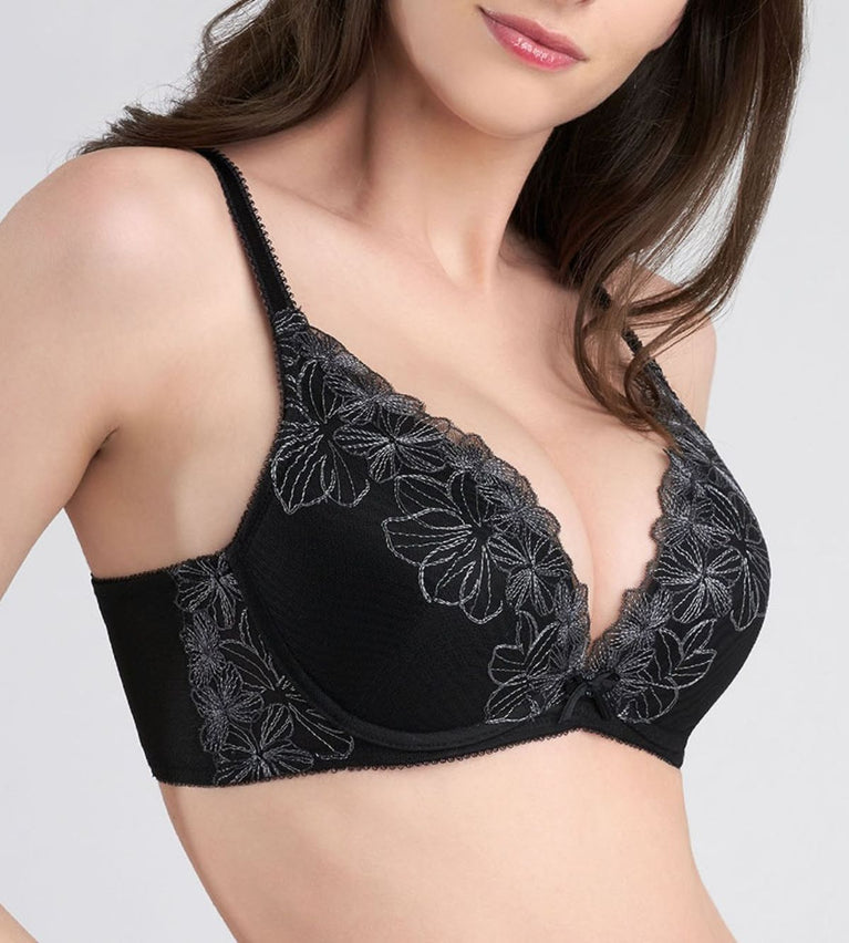AQUA FINESSE DEEP V WIRED PUSH UP BRA - BLACK