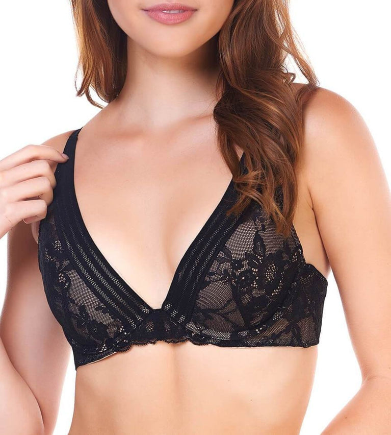 Airy Primrose Deep V Wired Push Up Bra - BLACK