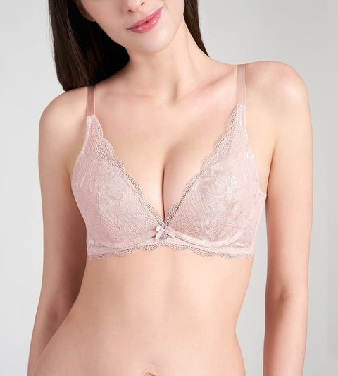 Aqua Freesia DEEP V WIRED PUSH UP BRA - SOFT MAUVE