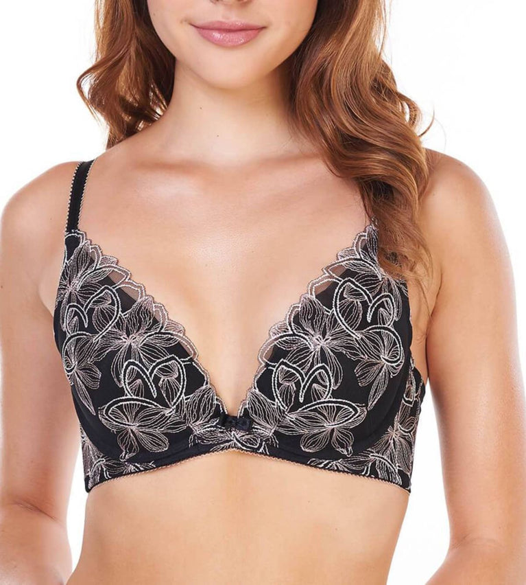 Aqua Lily Deep V Wired Push Up Bra - BLACK