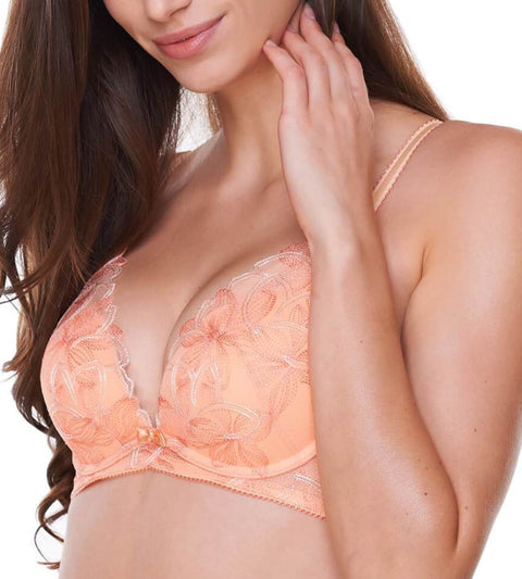 Aqua Lily Deep V Wired Push Up Bra - ANGEL DELIGHT