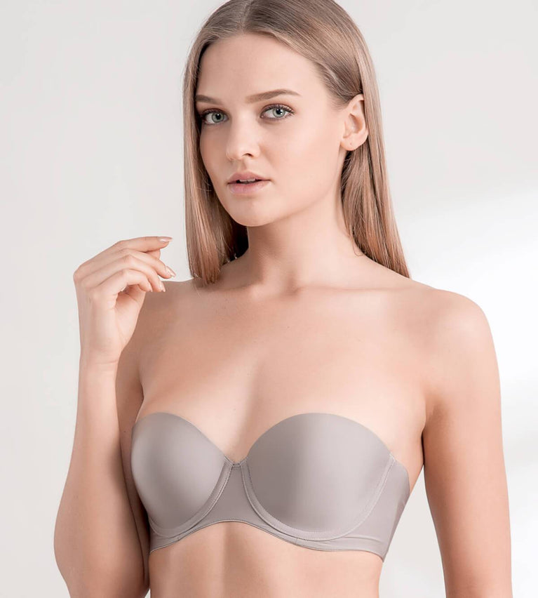 Body Make Up Wired Push Up Bra With Detachable Straps - COFFEE SUGAR