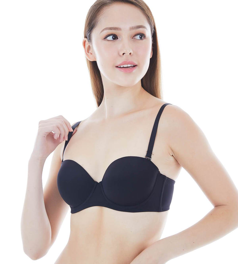 Everyday Basic Wired Push Up Bra With Detachable Straps - BLACK