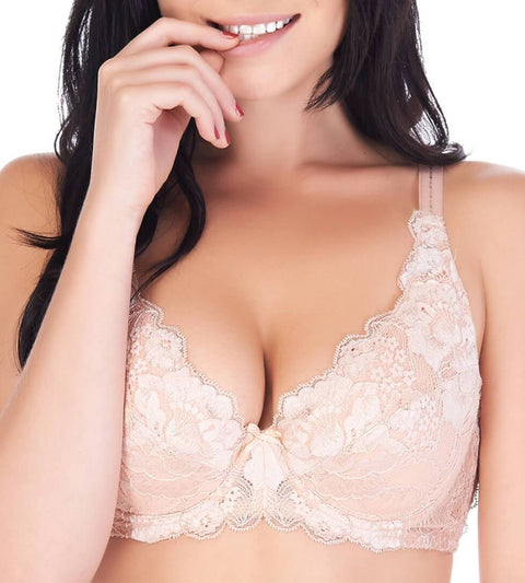 Lacy Support Wired Padded Full Cup Bra - NEUTRAL BEIGE