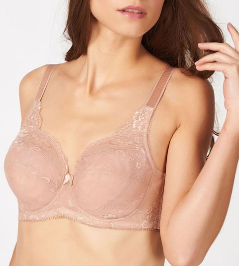 Lacy Support Wired Support Bra - CAMEO BROWN