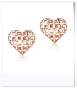 18k gold caged hearts earrings