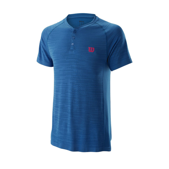 Men's Competition Seamless Henley Crew - Blue