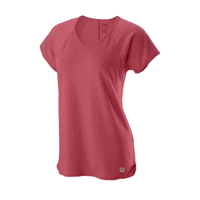 Women's Training V Neck Tee - Hot Coral Heather