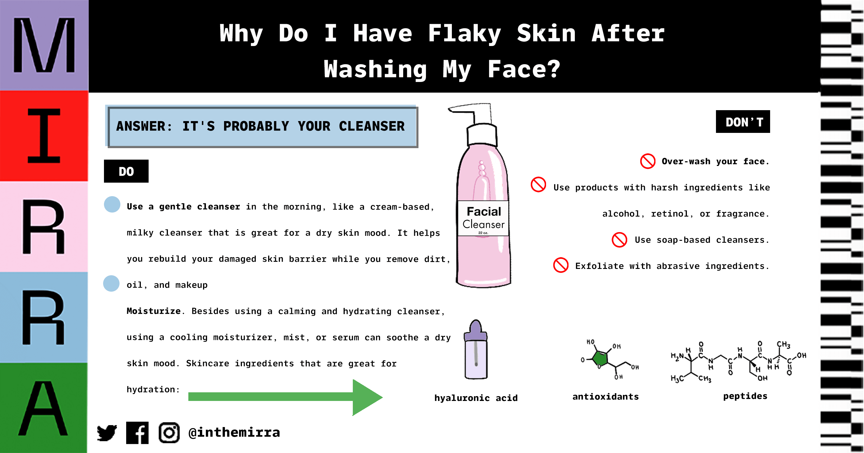 Why do I have flaky skin after washing my face? skincare tips from Mirra