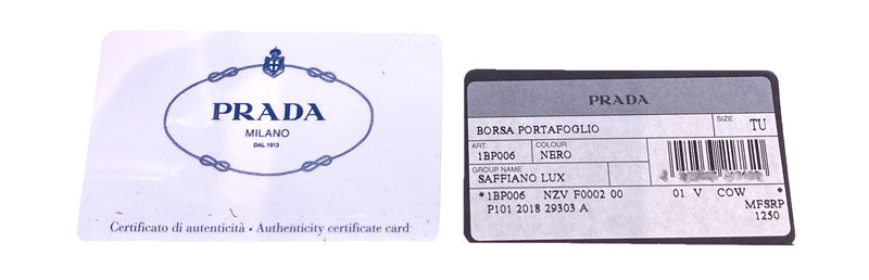 what prada authenticity cards should look like
