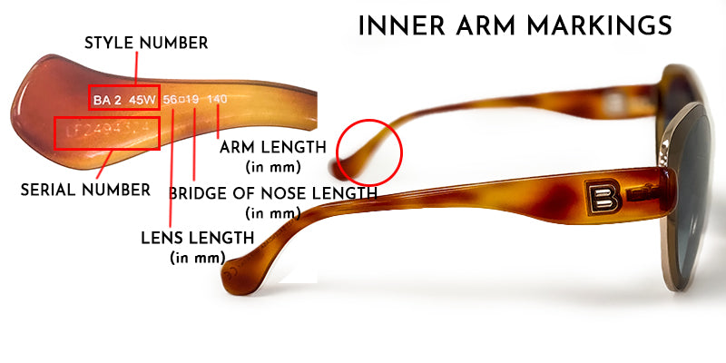 how to read inscriptions in Balenciaga sunglasses