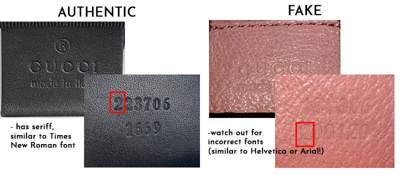 gucci real vs fake serial numbers