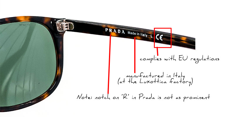 how to authenticate prada sunglasses markings on arms