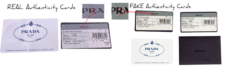 prada real verse fake authenticity cards