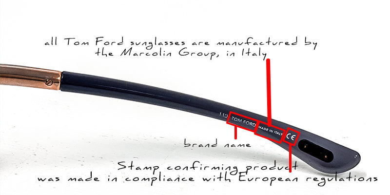 tom ford how to read inside arm on sunglasses; what it means