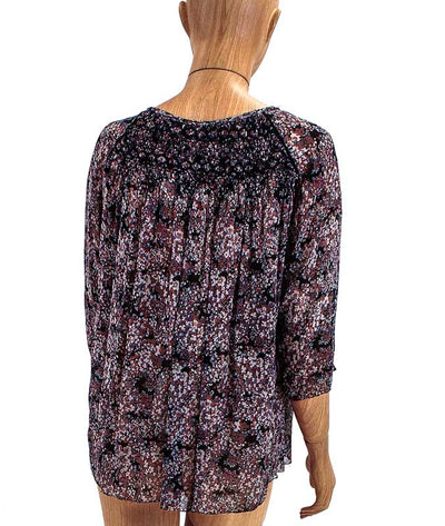 Printed Silk Quarter Length Sleeve Top