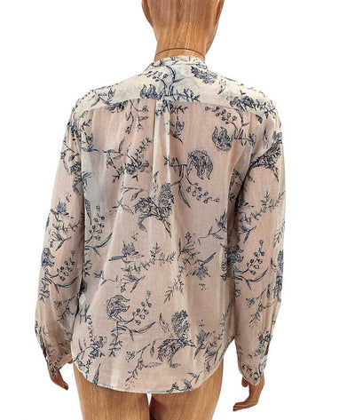 Sheer Floral Print Button Down Blouse