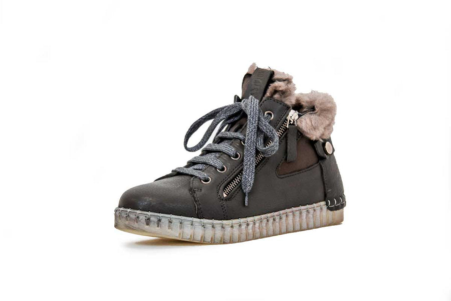 Leather Mid-Top Sneakers with Faux Fur Lining