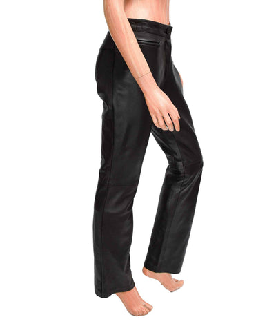Leather High-Waisted Straight-Leg Pant