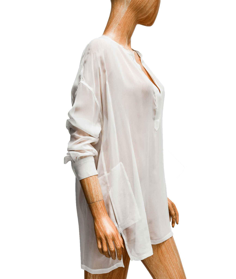Silk Long Sleeve V-Neck Blouse
