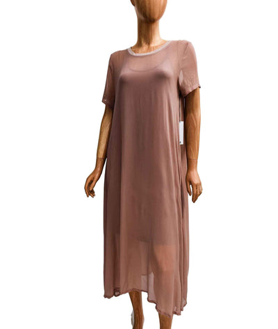 Sheer Dress with Knee Length Cotton Slip