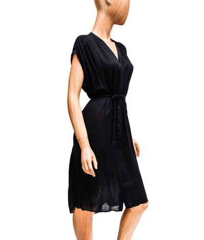 Sheer Button Down Dress with Waist Tie
