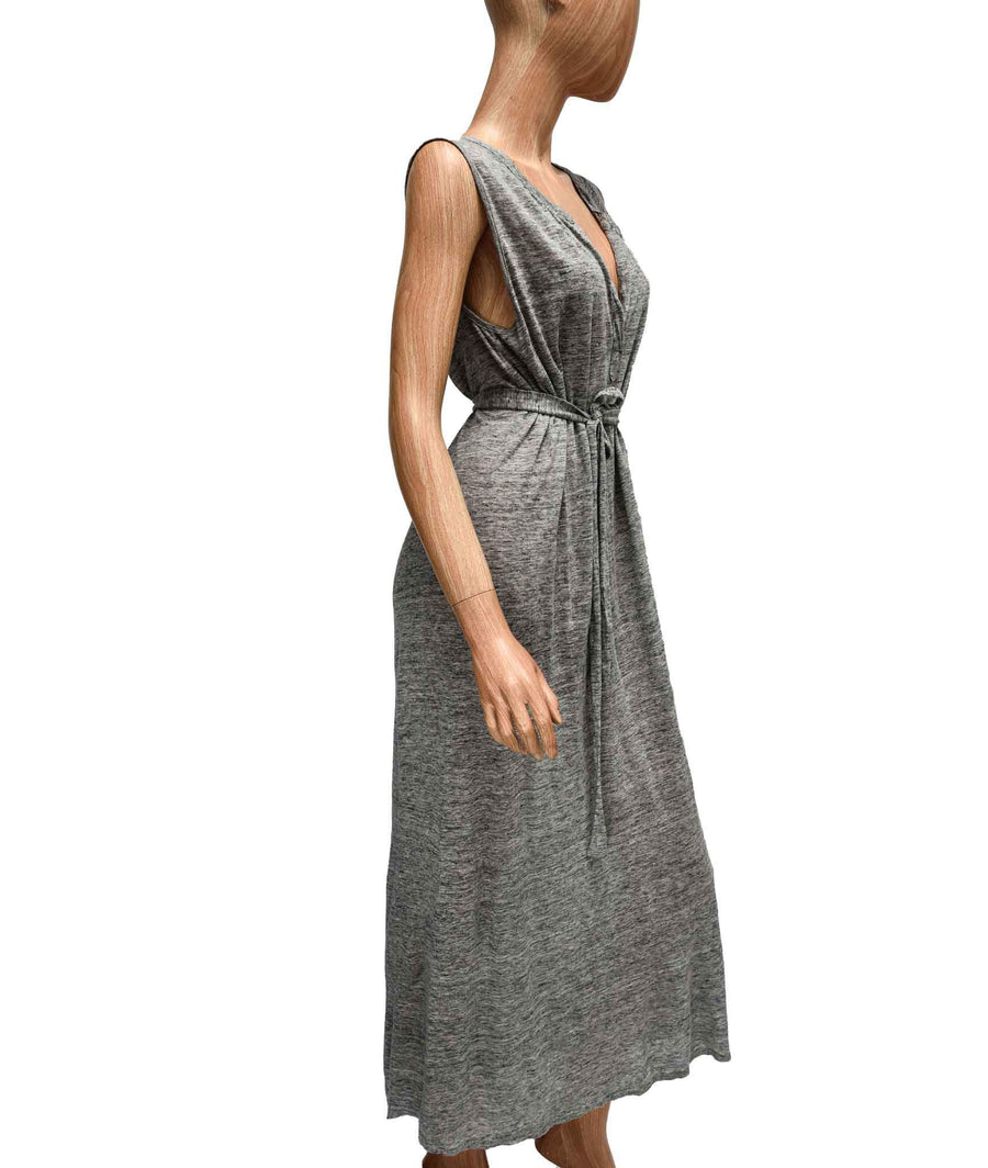 Sleeveless Maxi Dress with Waist Tie