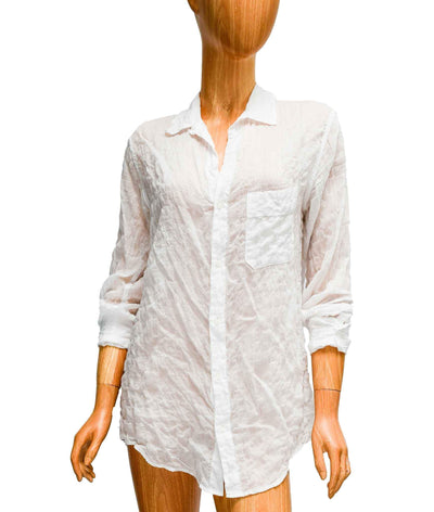 Semi-Sheer Cotton Wrinkled Button Down