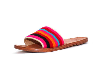 Leather Sandals with Multi-Color Strap
