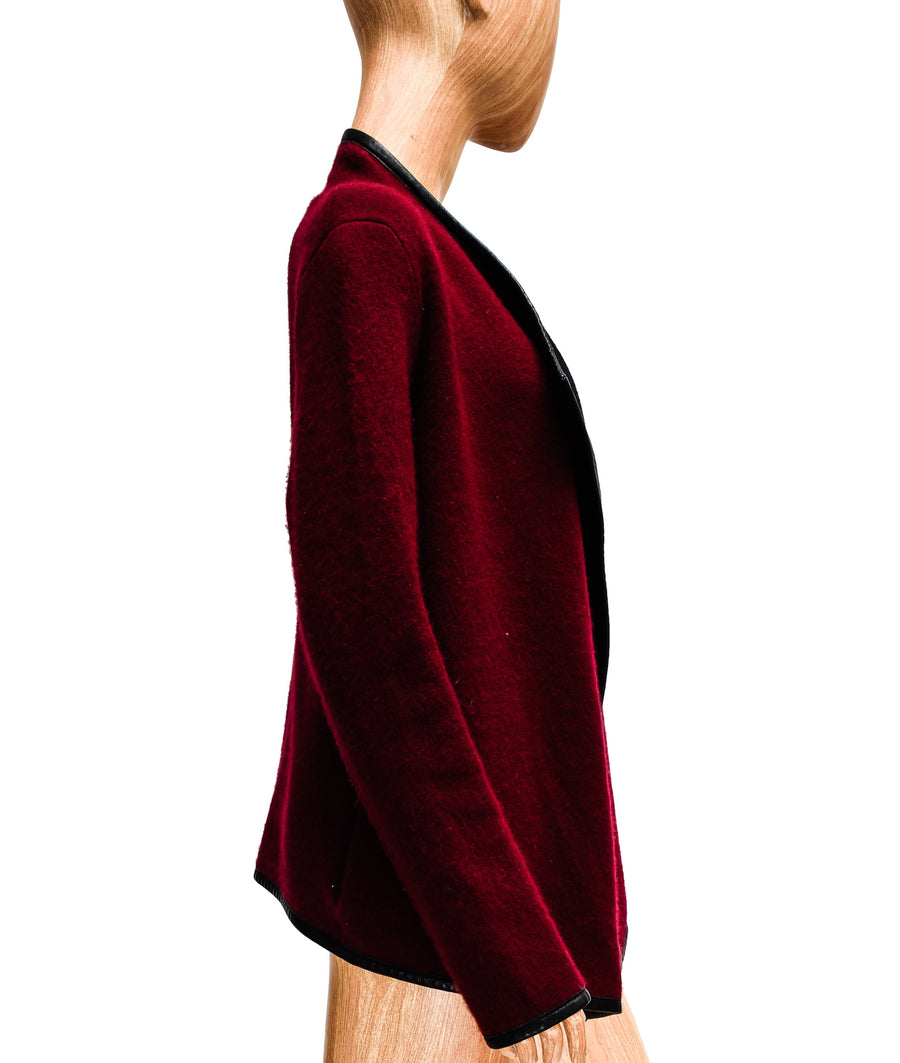 Cashmere Cardigan with Leather Trim