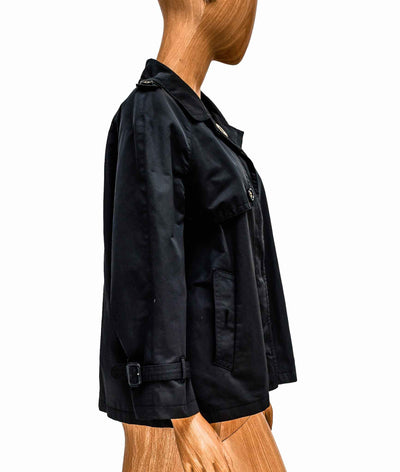 Cropped Trench Coat with Button Closures