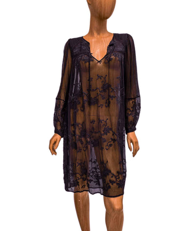Embroidered Sheer Long Sleeve Dress