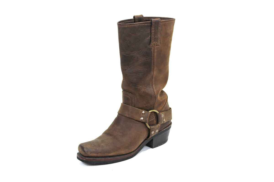 Mid-Calf Leather Harness Boot
