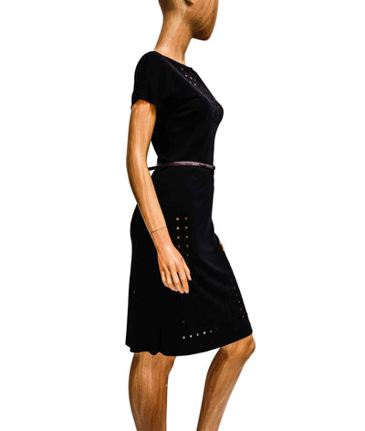 Fitted Black Dress with Perforated Squares
