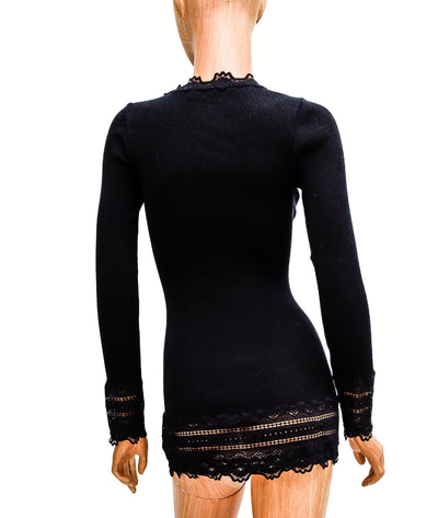 Fitted Black Ribbed Long Sleeve Top