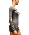 Fitted Taupe Ribbed Long Sleeve Top