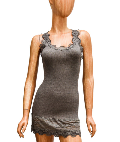 Fitted Taupe Ribbed Tank with Lace Trim