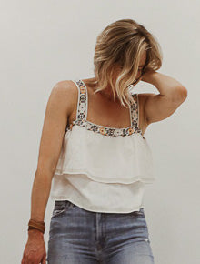 Embroidered Tiered Tank