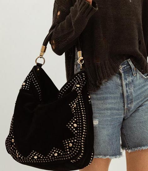 Studded Suede Hobo Shoulder Bag
