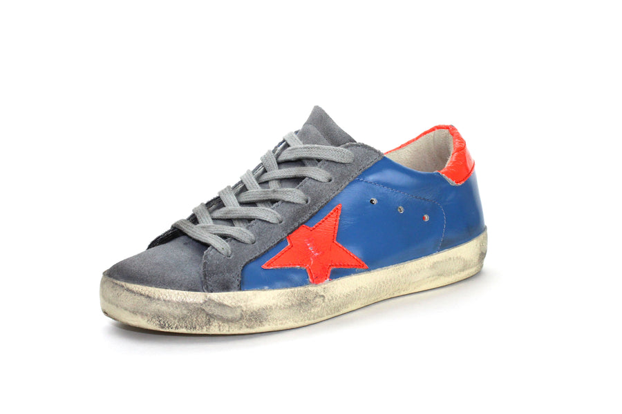 Leather Superstar Low-Top in Blue