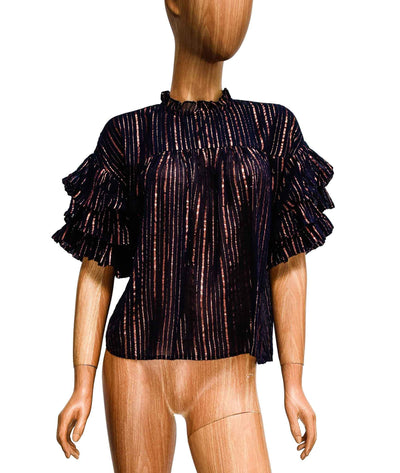 Metallic Stripe Ruffle Top