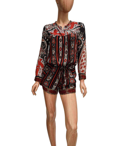 Printed Romper with Drawstring Waist