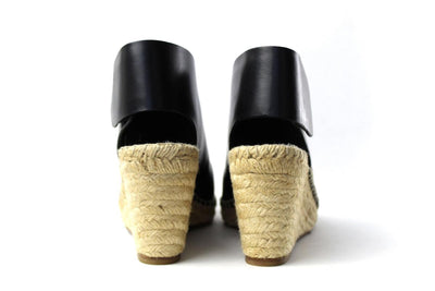Black Leather Wedge Espadrilles