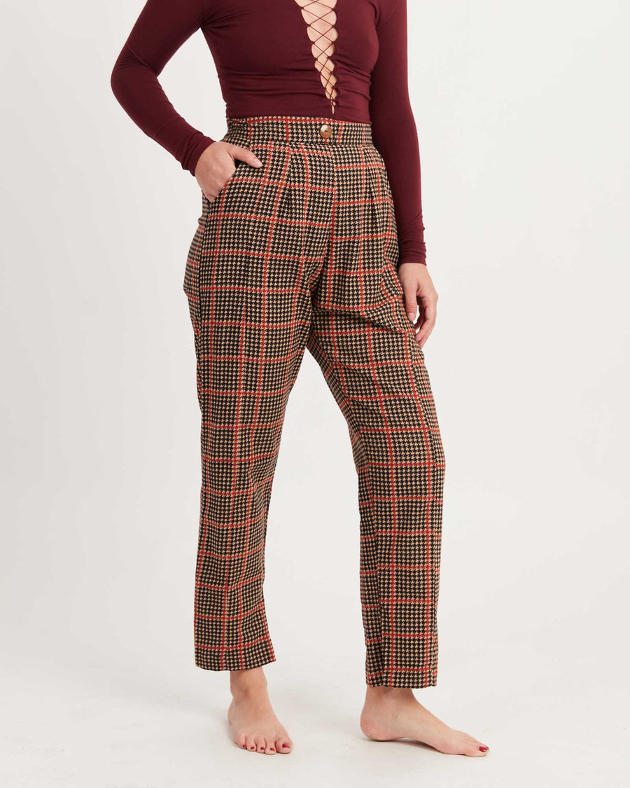 Hound's-tooth High Waisted Pants