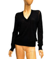Semi-Sheer V-Neck Long Sleeve Top